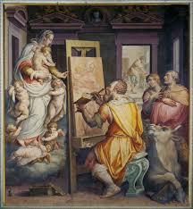 giorgio vasari br i saint luke painting a portrait of the