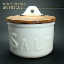 salt bowl with lid milk glass salt container with wood lid