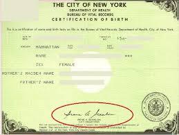 Short Form Birth Certificates Signed By Registrar Irene A Scanlon