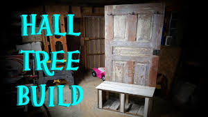 diy hall tree from old door and reclaimed lumber