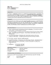Resume Of Sap Fico Consultant Ceciliaekici Com
