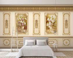 European Classical Interior Design Beibehang Custom Size 3d Wallpaper European Luxury Garden Flower Gold Home Decoration Wainscoting Background Classic Wall Paper