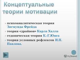 Презентация на тему Концептуальные теории мотивации  6 психоаналитическая теория
