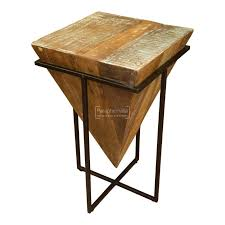 reclaimed wood prism side table