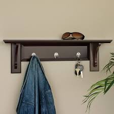 3 hook brown wooden wall clothes rack with display shelf full size