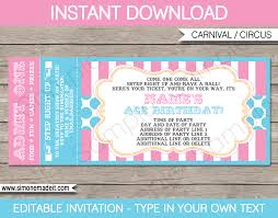 Printable Carnival Tickets Carnival Ticket Invitations Template Carnival Circus Pink Aqua