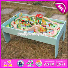 new design funny activity toys wooden kids train table w04c071