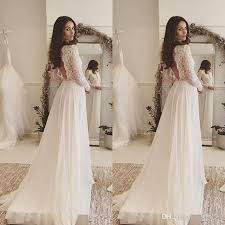 discount 2017 simple elegant bohemian wedding dresses deep v neck