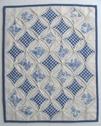 Toile and gingham cathedral windows mini quilt by Miriam at Ms Sew ... & Miriam's Sewing Studio: A rainy thursday.--Blue/white cathedral window Love  the blue and white quilts. Adamdwight.com