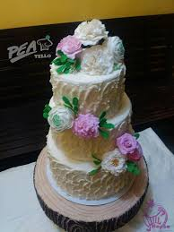 Pea Tello Cakes Silang Rustic Chic Fondant Wedding Cake With