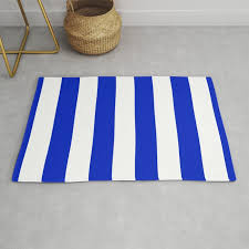 cobalt blue and white wide circus tent stripe rug