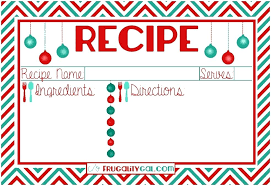 Recipe Cards Templates Recipe Cards Free Templates Editable Christmas Card Template