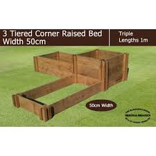50cm wide 3 tiered corner raised bed