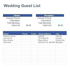 Excel Guest List Wedding Guest List Template Excel Download Grocery Free Danielmelo