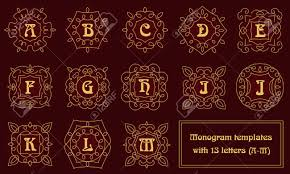 Set Of Monogram Templates For Business Cards And Invitations