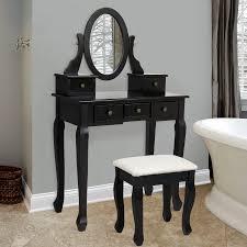 black makeup vanity with drawers. bathroom vanity table jewelry makeup desk bench drawer black hair dressing organizer new with drawers
