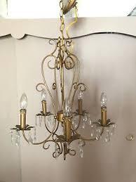 vintage matt goldtone with 5 candle lights with crystal pendants chandelier