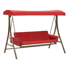 garden treasures 3 person red with brown powder coated frame steel outdoor swing