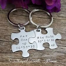 his and hers puzzle piece keychain set valentines gift couples gift for him