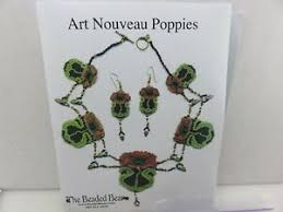 Details About The Beaded Bear Art Nouveau Poppies Beaded Necklace Earrings Chart Beads Kit