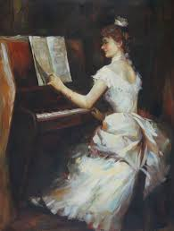 an elegant lady playing piano oil painting portraits woman ian impressionism 40 x 30 inches