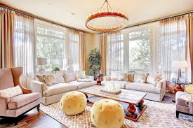 Modern Luxury Living Room With Round Chandelier Lighting (Image 24 of 32)