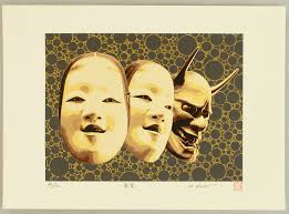 silkscreen by hideaki kato born 1954 le noh masks from beauty to monster
