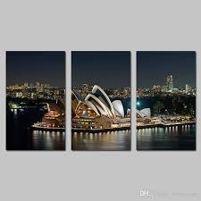 no framed dark night sydney opera house decoration wall art