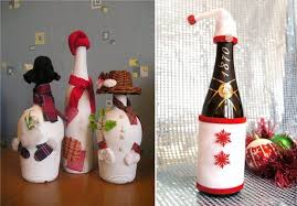 crafts made of glass bottles snowmen with fun hats and scarves recycling decorating ideas