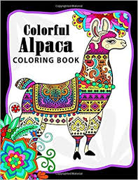 Amazoncom Colorful Alpaca Coloring Book Animal Adults Coloring