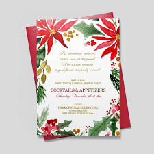 Christmas Inviations Painted Poinsettia Invitation