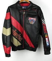 mens medium pro player leather jacket coat nascar budweiser 50th anniversary