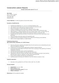 Sample Of A Construction Worker Resume Laborers Resume Construction ...