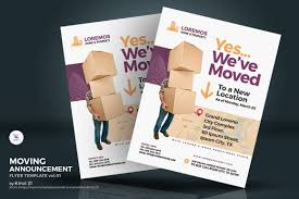 Moving Flyer Template Moving Announcement Flyer Corporate Identity Template