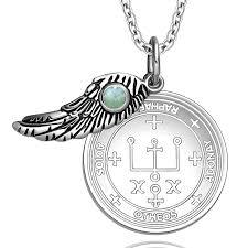 archangel raphael sigil amulet magic powers angel wing charm green quartz pendant 22 necklace