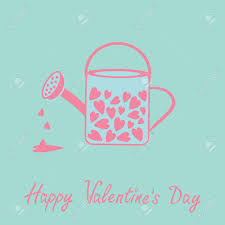 Love Watering Can With Hearts Inside Pink And Blue Valentines