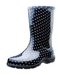 Sloggers Womens Waterproof Rain And Garden Boot With Comfort Insole Black White Polka Dot Size 7 Style 5013bp07
