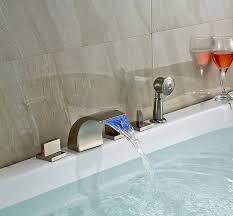 Waterfall Bathtub Rozin Nickel Brushed Led Waterfall Bathtub Faucet 3 Handles Mixer