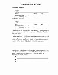 Functional Resume Worksheet Luxury 51 Elegant Resume Summary