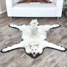 wolf skin rug for 6 feet 5 inches cm arctic at faux with head fake wolf skin rug