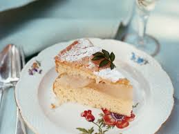 Almond Cake with Pears and Cr¨me Anglaise Recipe Florence Daniel