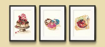 For Kitchen Art Set Of 3 Watercolor Kitchen Art Decor 5x7 Prints Penelopeloveprints