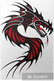 Plakát Tetování červený Drak