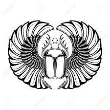 Hand Drawn Vintage Tattoo Art Vector Illustration Symbol Of Pharaoh Resurrection Element Of Life Ancient Egypt Linear Style Scarab Beetle God