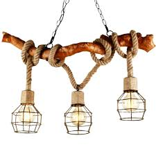 Eglone Kronleuchter Holz Seil 3 Flammig Loft Retro Landhaus
