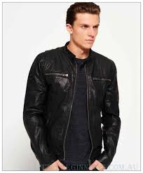 superdry black real hero biker jacket l855667 superdry outerwear mens leather jackets