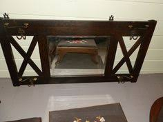 Mission Style Wall Coat Rack Oak Leaded Glass Back Bar w Beveled Mirror Arts and Crafts 87