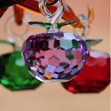 <b>30mm</b> Cut Crystal Glass Apple <b>Christmas</b> Hanging Tree Decoration ...