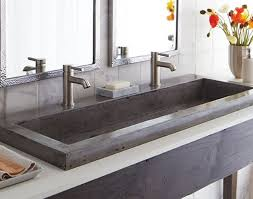 trough sink two faucets. Beautiful Two Perfect Grey Textured Trough Bathroom Sink With Two Faucets And Stylish  Framed Mirror Best Vase Throughout D