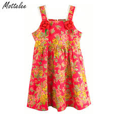 mottelee flower s dress summer strapless children beach dresses cotton pageant baby wedding party frocks for